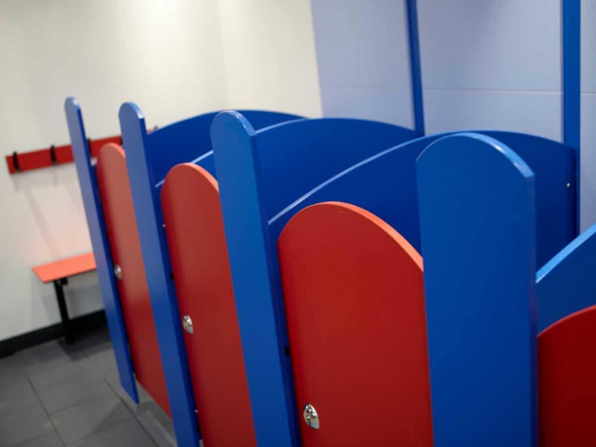 nursery school toilet cubicle door low height