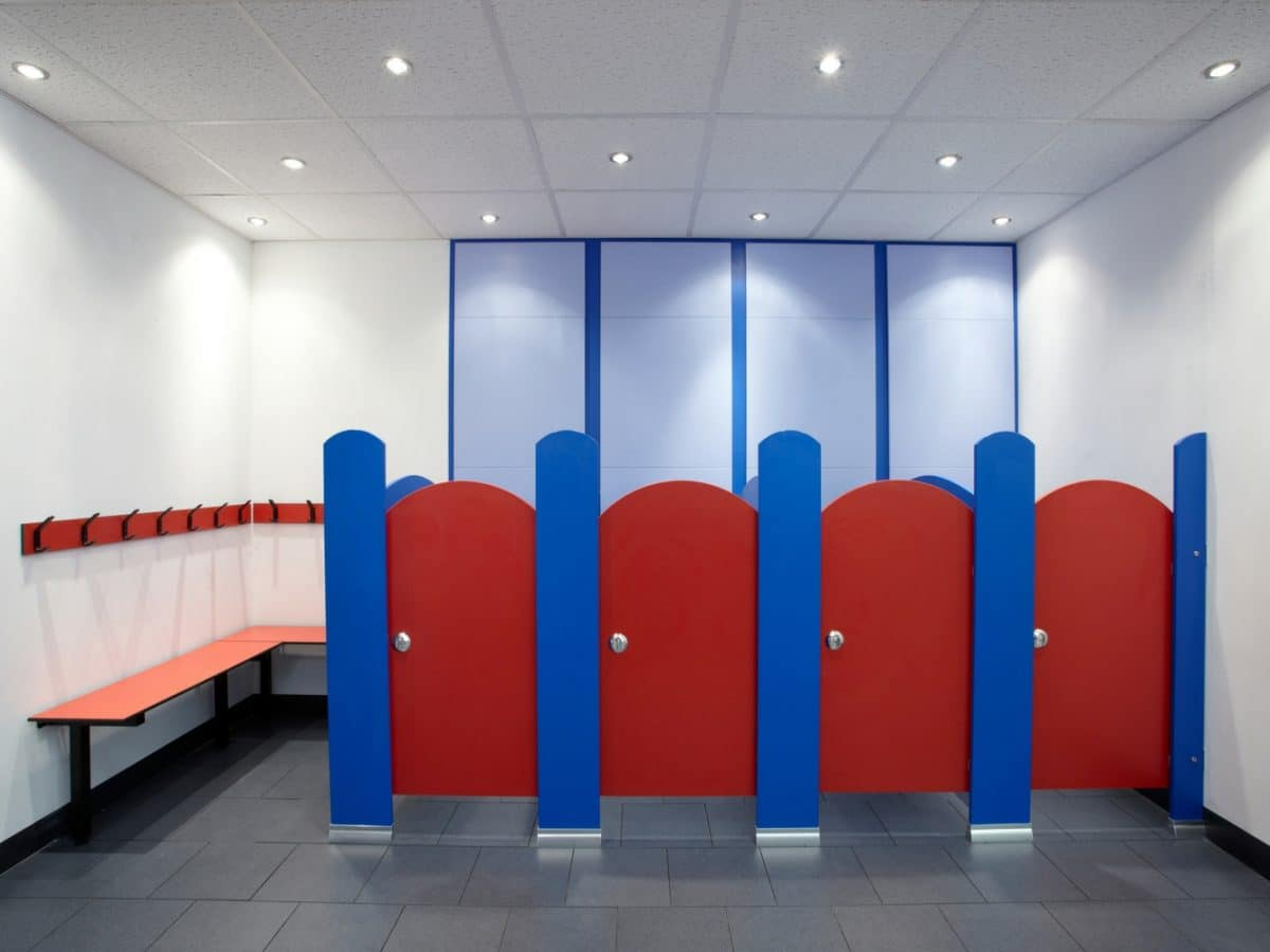 low height nursery school toilets in red and blue