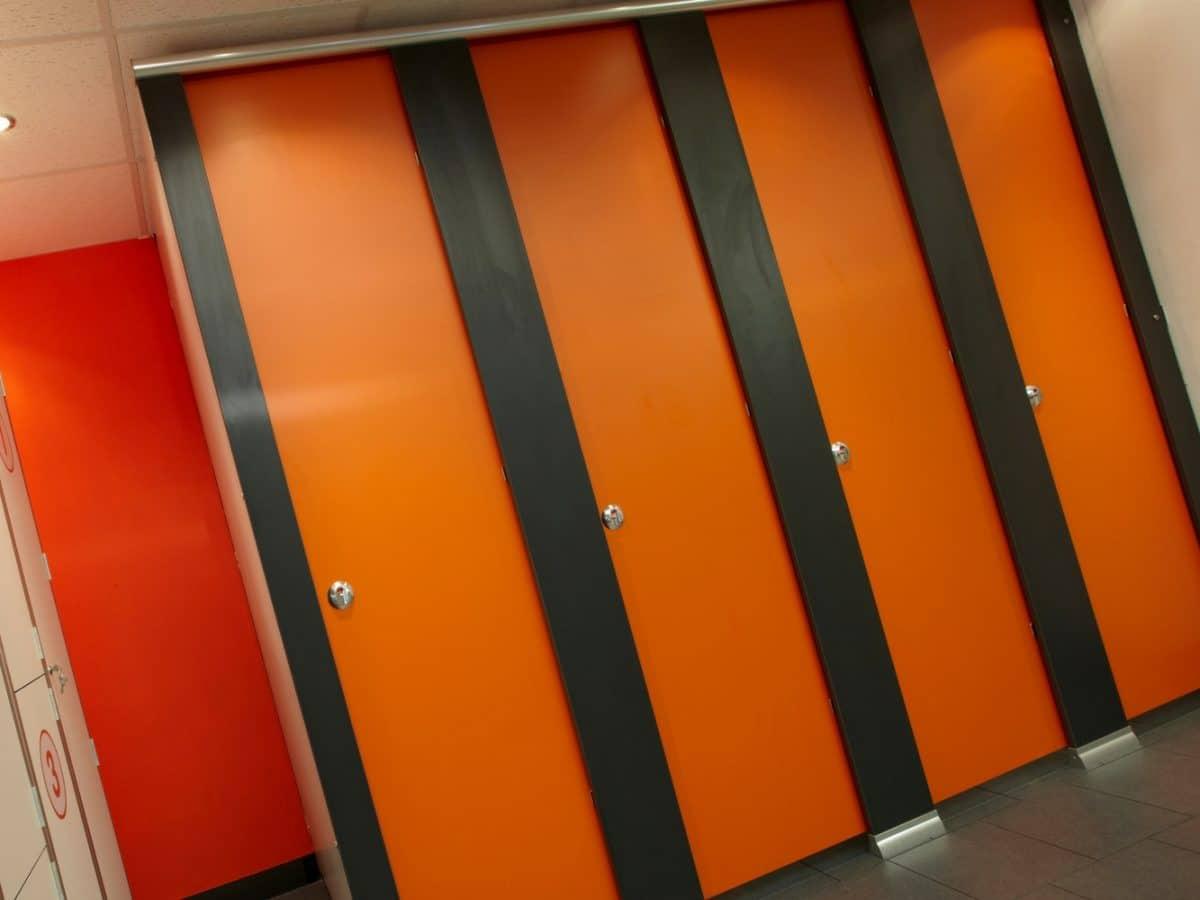 orange floor to ceiling toilet cubicle doors for schools