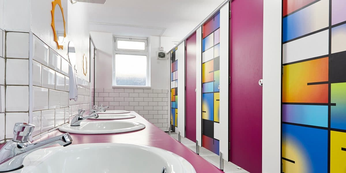 colourful primary school toilet design