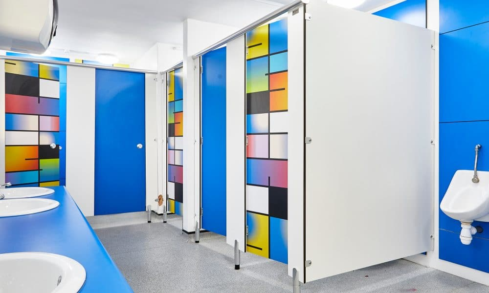 colourful blue primary school toilets