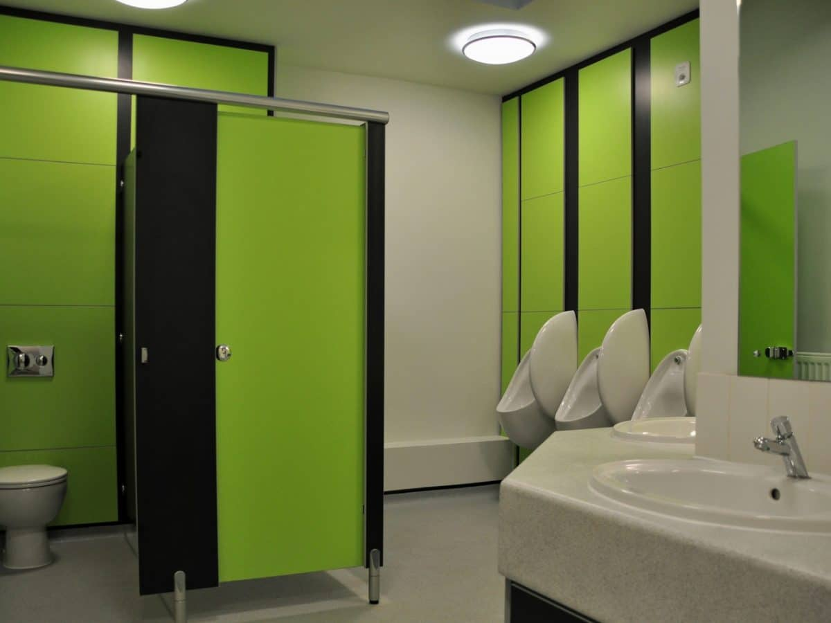 green toilet cubicle doors and duct panels