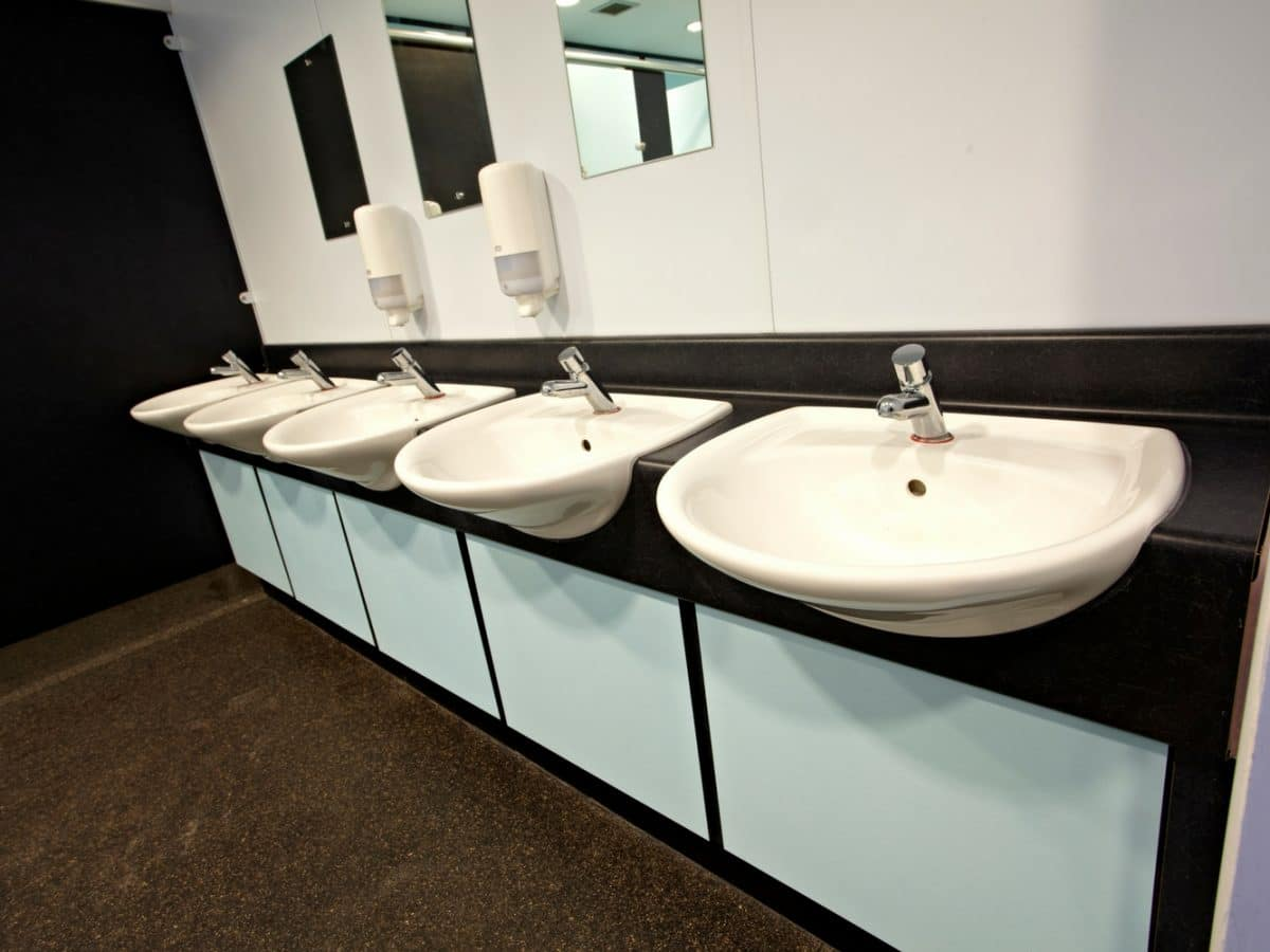 high pressure laminate HPL vanity unit in black with blue panels