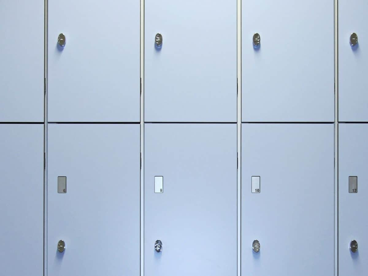 changing room locker system in blue
