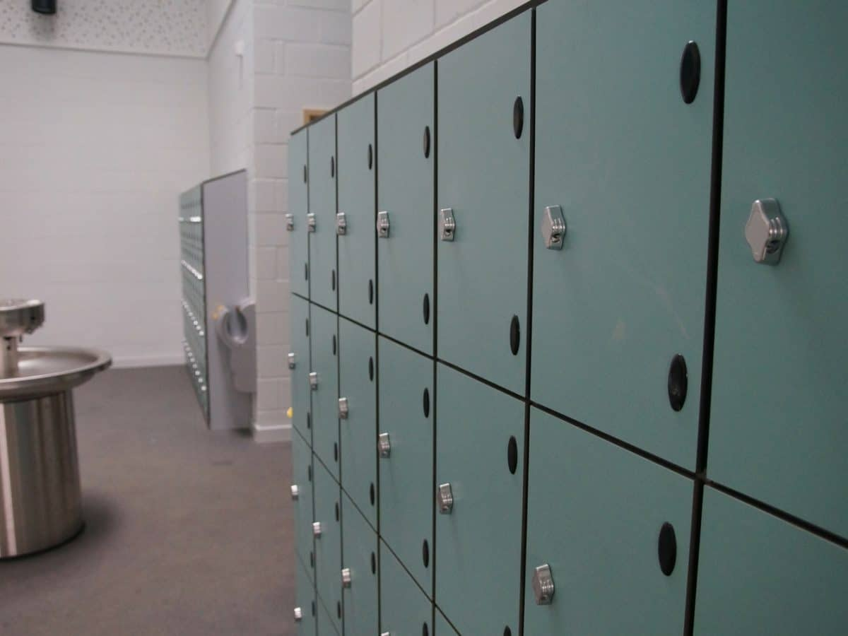 open plan washroom with lockers