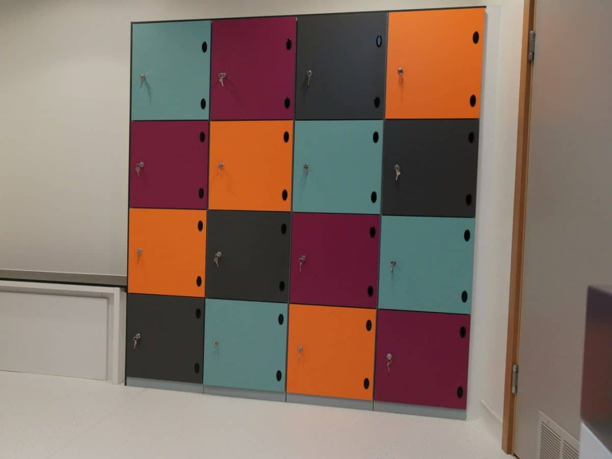 colourful changing room lockers