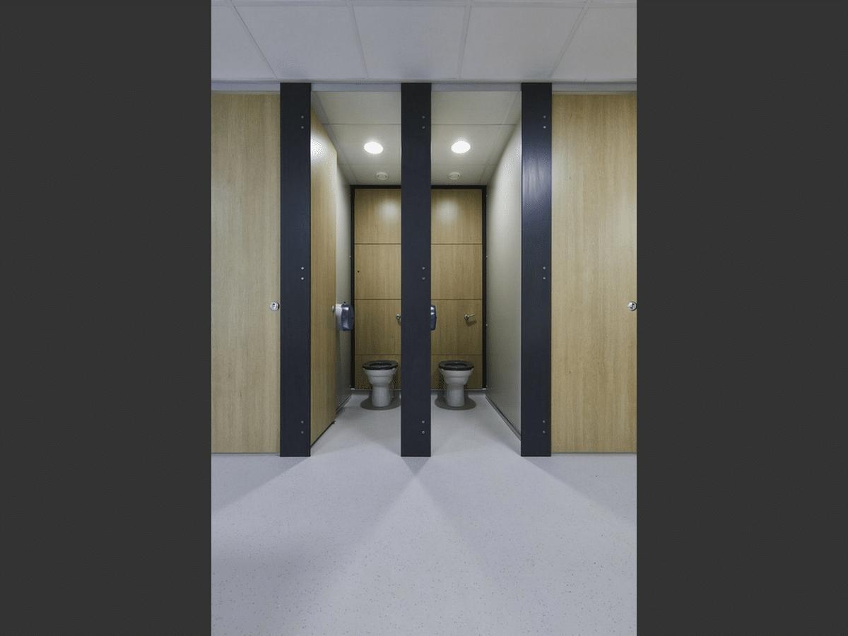 Altitude Education wood grain toilet cubicles open