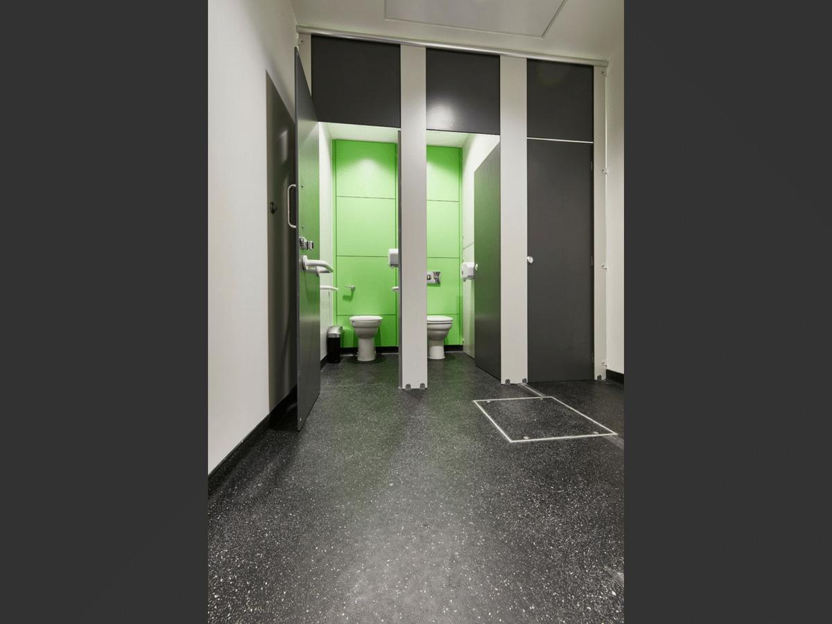 Altitude black toilet cubicles open