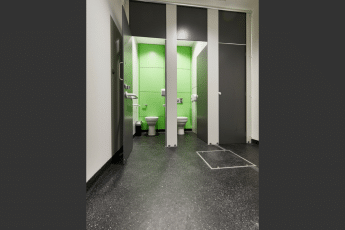 Altitude black toilet cubicles open