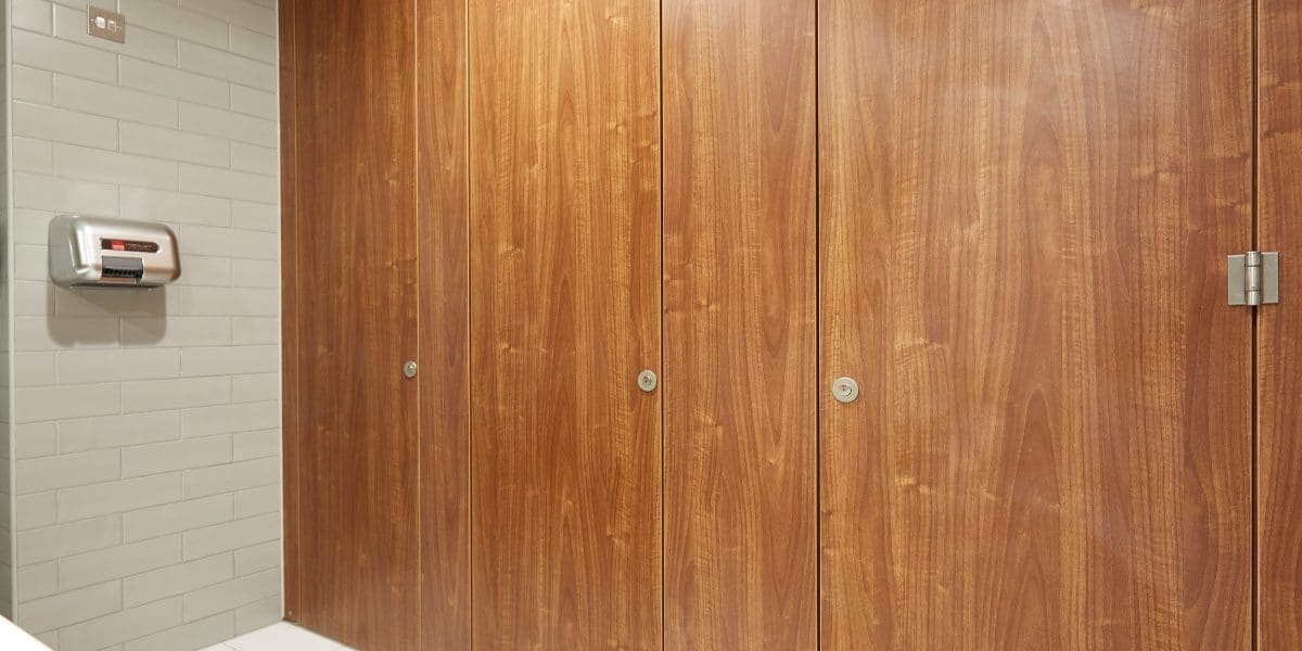 office toilet cubicle door in wood finish