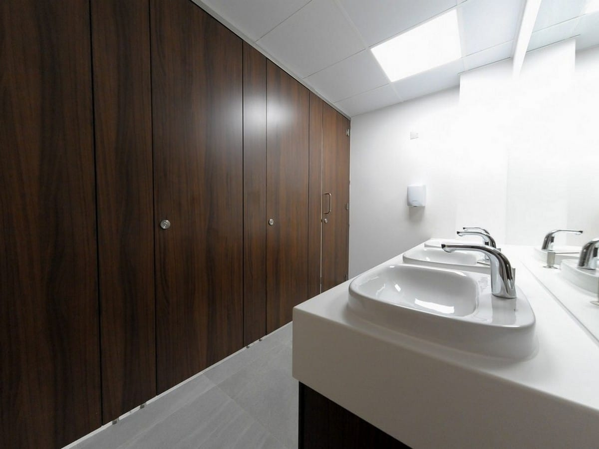 Altitude dark wood toilet cubicles closed Ashford