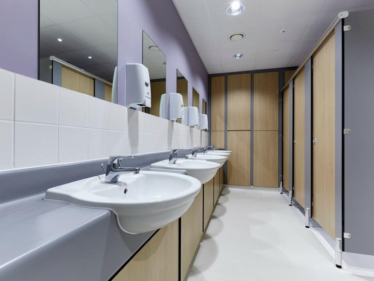 commercial office washroom cubicles and vanity units