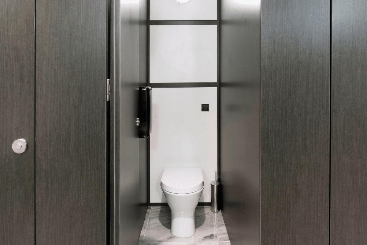 inside toilet cubicle black high end washroom