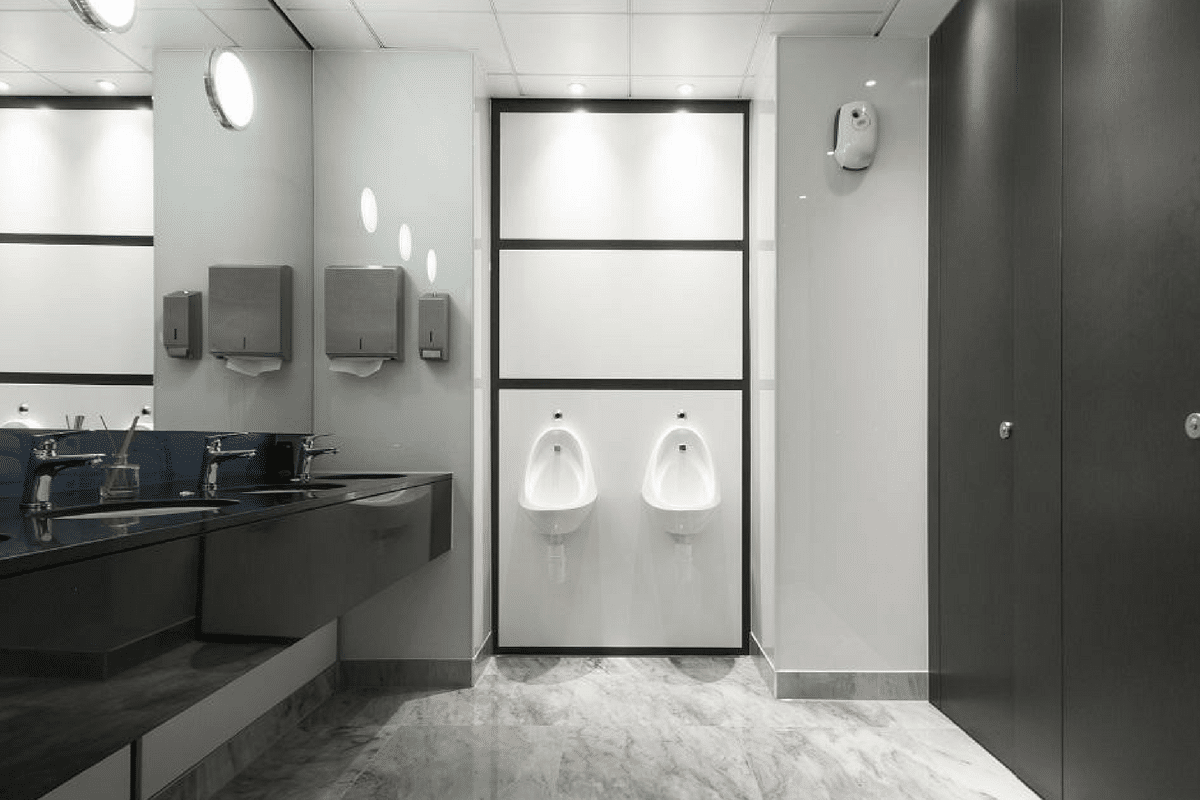 marble floor and stone hand wash area and urinals high end toilet