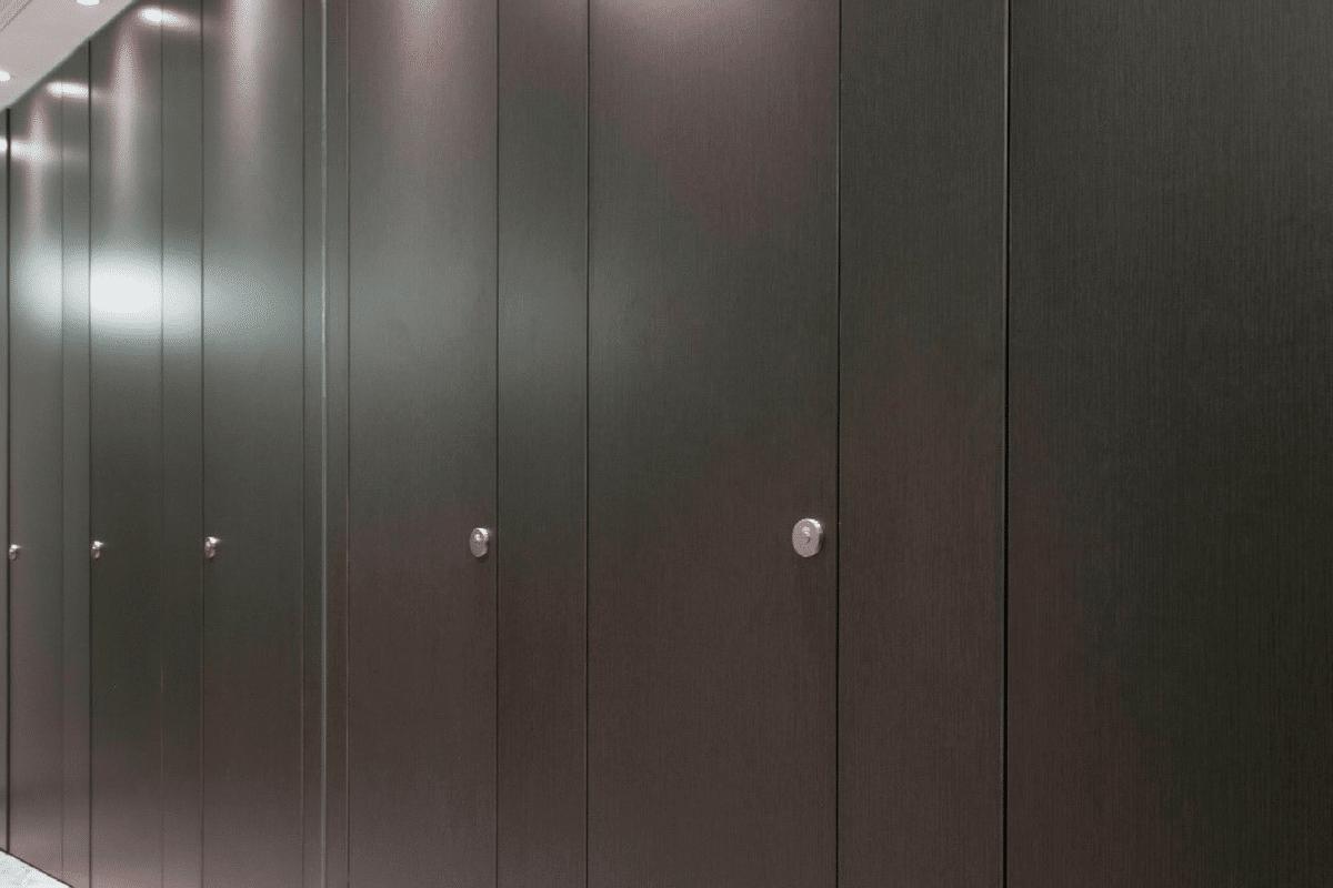 black full height toilet cubicle doors