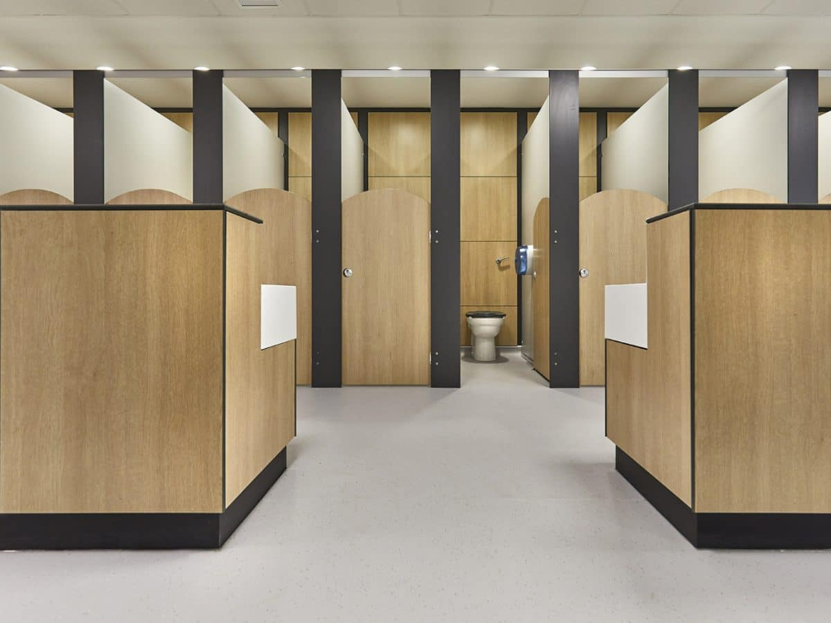 handwash area and toilet cubicles in primary school