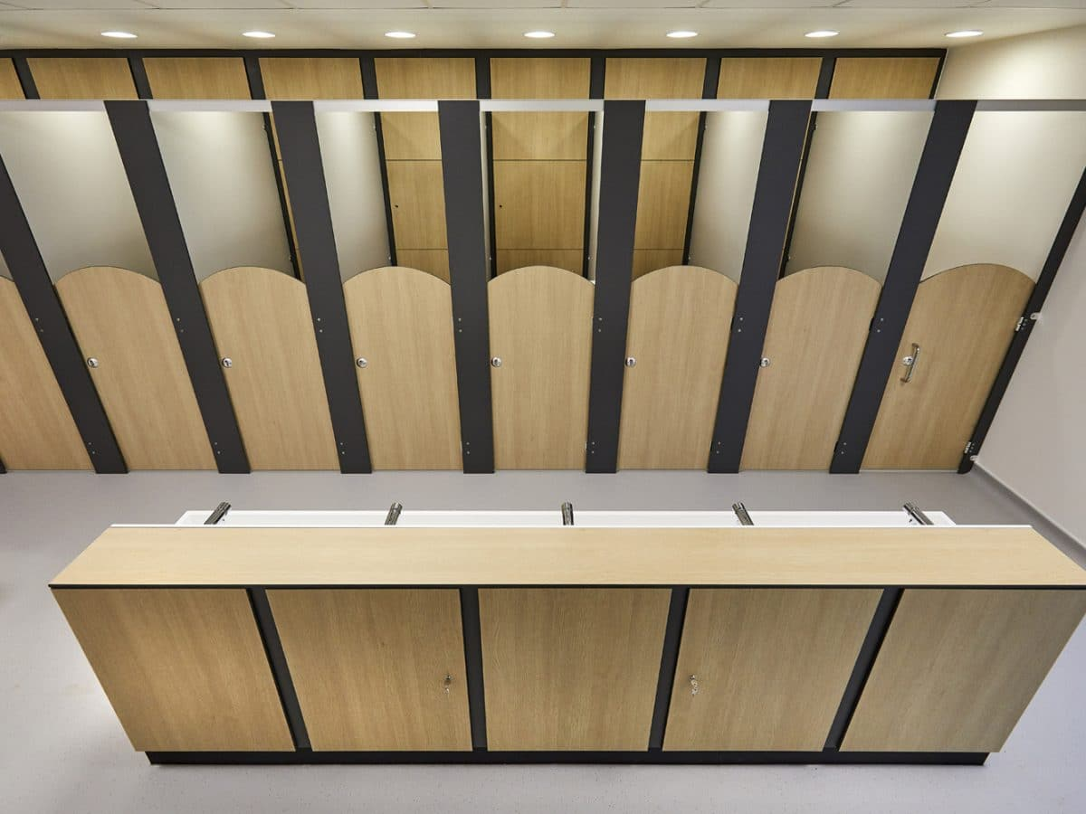 vanity unit and handwash trough school toilet cubicles