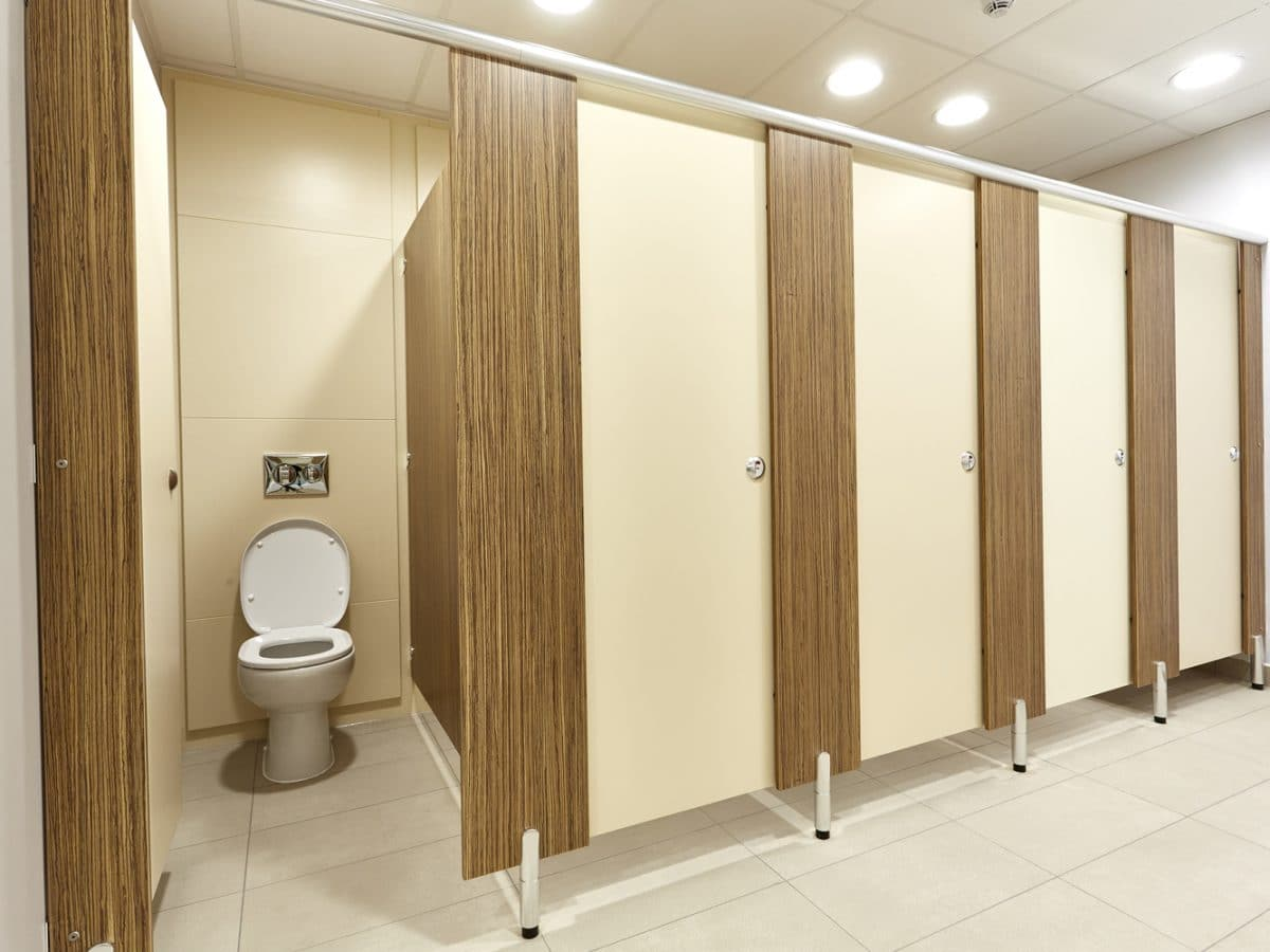 Global Food Producer Toilet Cubicles cream and wood
