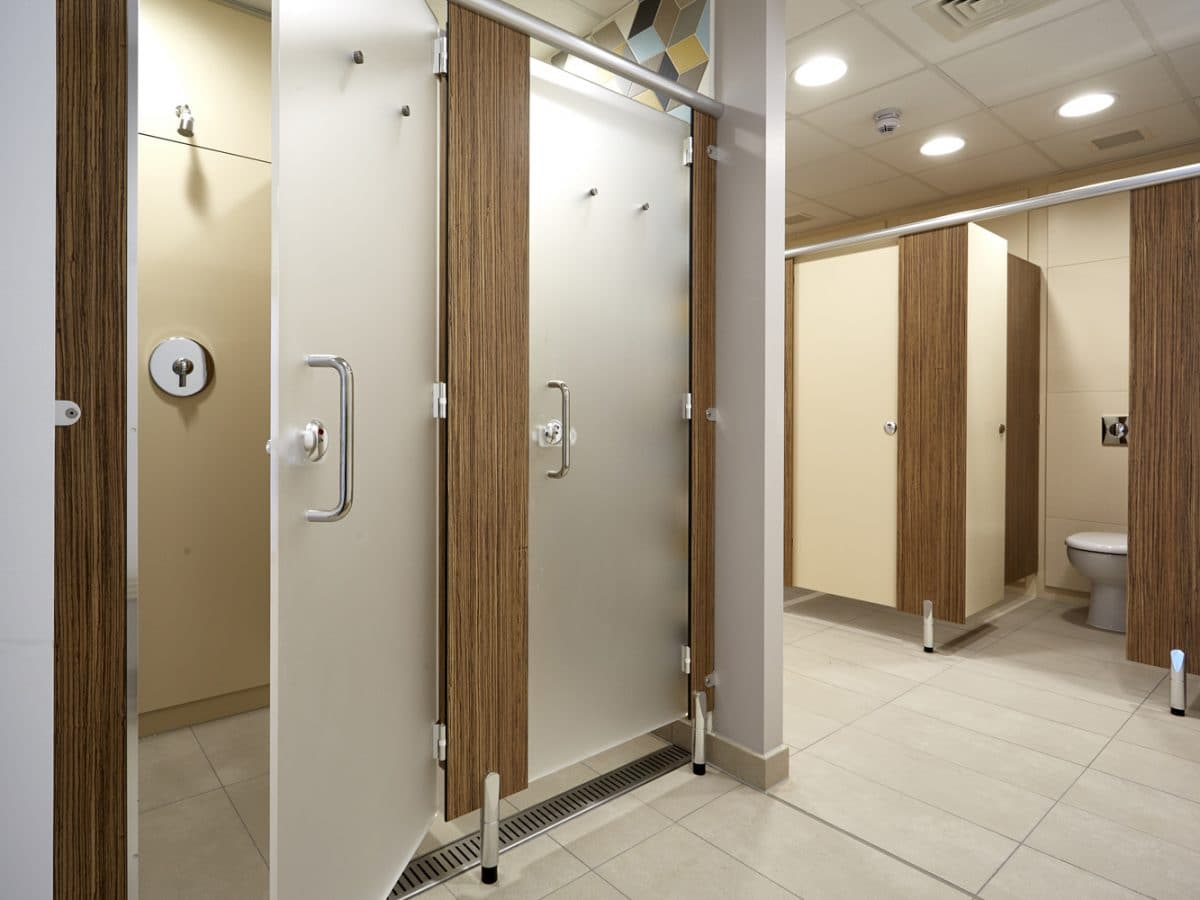 Global Food Producer Toilet Cubicles grey and wood