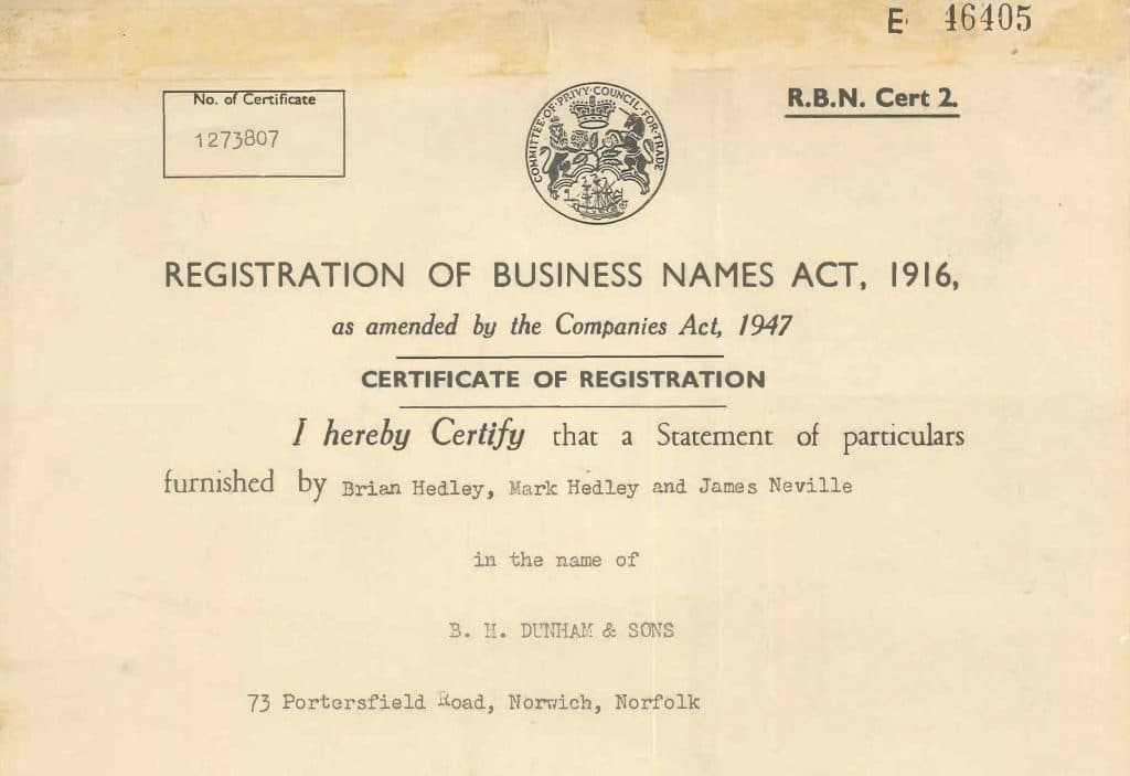 Business Registration Certificate bh dunhams