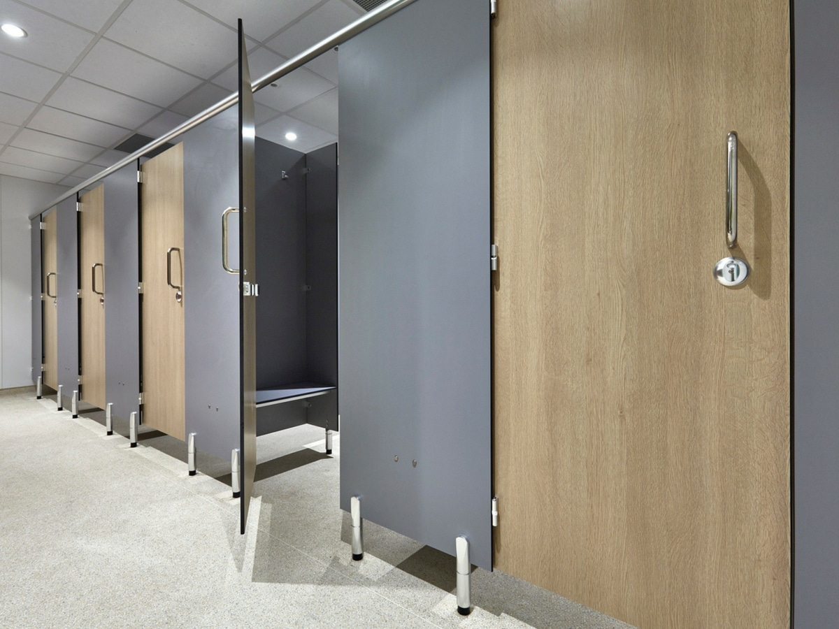 open door shower cubicle